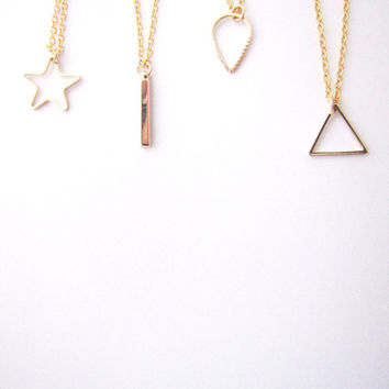 Geometric minimalist necklace. Choose Your Geo Necklace Star necklace.  Drop necklace Triangle necklace Stick necklace