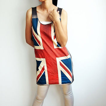 UK British Flag Tops Union Jack Shirt London Women Tunic Tank Tops Sleeveless T-Shirts Vest Singlet Top Dress Size M