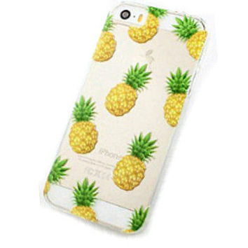 PINEAPPLE iPhone 6 Case, new iPhone 6 plus case, clear cell case, colourful pattern iphone case, tropical fruit pattern, hipster iphone case