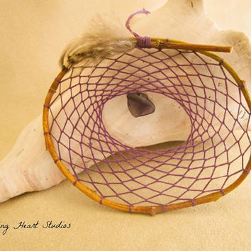 Dream Catcher - natural willow branch hoop - wild violet purple - small