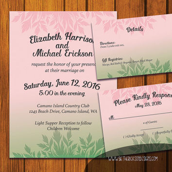 Bohemian Invitation / Floral Boho Wedding Suite / Inviation Suite / Pastel Pink / Rose Quartz / Pastels / Boho / Green Flash