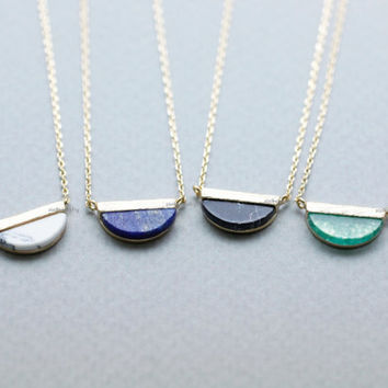 Half Circle Gemstone Pendant Necklace (Black Howlite,White Howlite,Lapis Lazuli,Chrysoprase), N0819K