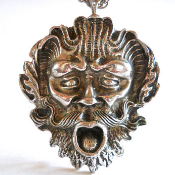 Ancient Face-Mask Sterling Silver Pendant Necklace, Art Nouveau, Vintage