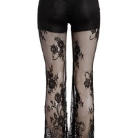 Womens Sheer Lace Bell Bottom Flared Pants with Shorts Lining