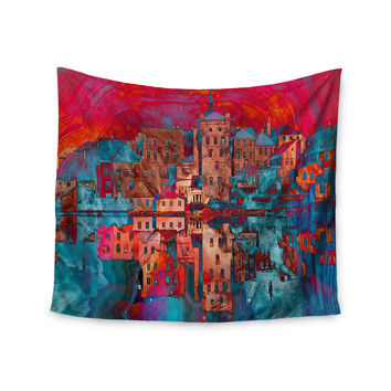 """Suzanne Carter """"Marbled Skyline"""" Red Blue Wall Tapestry"""