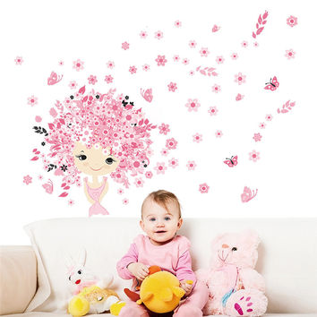 Flowers Fairies Girl Butterfly Wall Stickers For Kids Rooms Art Decal Girl's Room Decor Mural Children Nursery poster