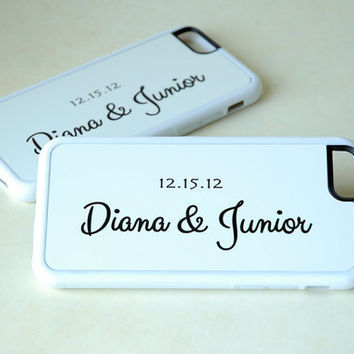 Personalized Phone Cases for Couples, Matching White iPhone Cases, Silicone iPhone Cases, iPhone 6 Case, iPhone 6 Plus, 6+ Case
