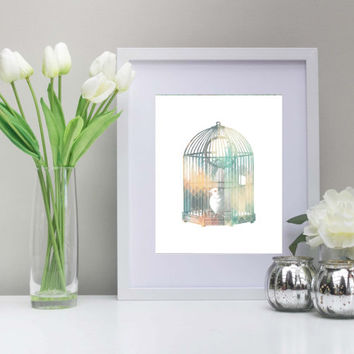Geometric Vintage Bird Art, 8x10 Inch, Printable, Pastel Colors, Birds in a Cage Art, Birdcage Art, Vintage Art