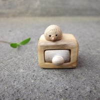 Miniature drawer with little hedgehog, wood carvin