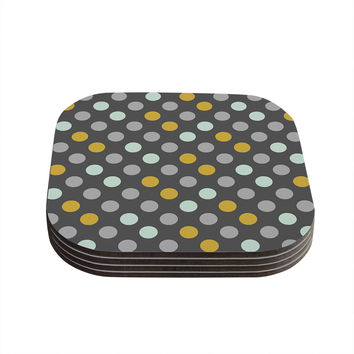 "Pellerina Design ""Minty Polka"" Gray Coasters (Set of 4)"
