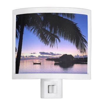 Romantic Sunset Maldives Palm Tree Ocean Gondola Night Light