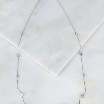 Large Crystal Studded Necklace Silver