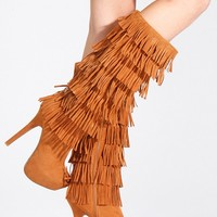 Chestnut Faux Suede Fringe Platform High Heel Boots - Boots - Shoes