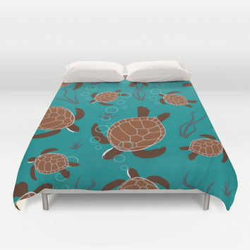 Swimming Sea Turtles Duvet Cover by DAW Surface Design