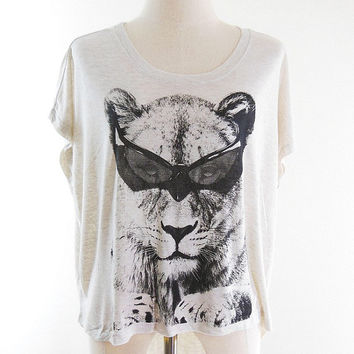 Lion Glasses Tshirt lion shirt animal tshirt women t shirt tunic top cream tshirts Free Size