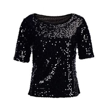 mokingtop Tshirt Women Sequins Short Sleeve Summer Shirt Tops Punk Fashion Women T-Shirt Camisetas Feminina Verao#0521