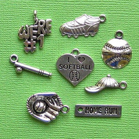 Softball Charm Collection Antique Tibetan Silver Tone 8 Different Charms - COL068