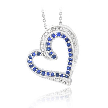 Created Sapphire & Diamond Accent Floating Heart Necklace