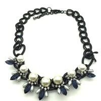 Blue Flowers with pearls necklace