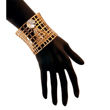 Egyptian Cutout Gold and Crystal Cuff Bracelet