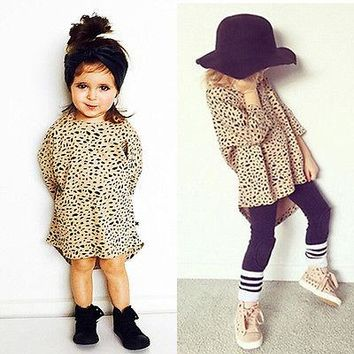 New Cute Baby Kids Girls Party Seven Sleeves Leopard Cotton Shirt Mini Dress