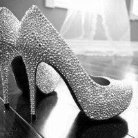 Sliver Crystal wedding shoes bridal shoes sparkly prom shoes women high heels prom sho
