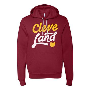 Cleve-Land Ohio - Wine and Gold Script - Hooded Sweatshirt