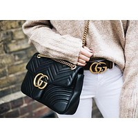 Gucci Trending Women Leather Shoulder Bag Handbag Crossbody Satchel Black