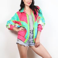 Vintage 80s Windbreaker Jacket Neon Green Pink Blue White Bomber Jacket Surfer Color Block 1980s Wind Breaker Track WarmUp Sporty M Medium L