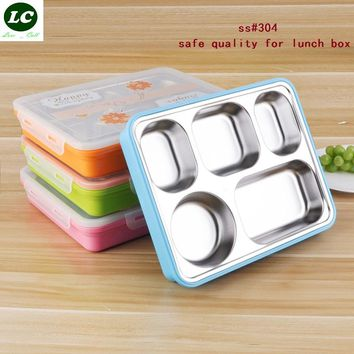 insulation boxes 304# stainless steel anti-hot childred student lunch box fast food box adult fast food tray camping use