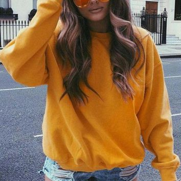 Yellow Pullover Sweatshirt