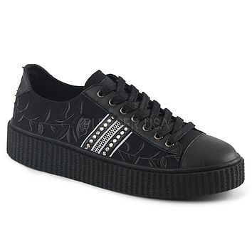 Demonia Rose Print Unisex Creeper Sneakers