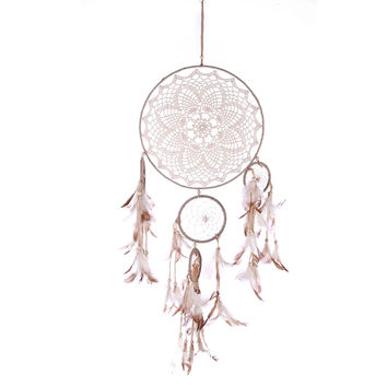 Lace Dream Catcher Circle Five-rings Feather Flowers Dreamcatcher Net Hanging Home Wall Car Decor Ornaments Craft