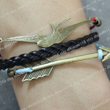 Hunger Games Bracelet-Bird Bracelet-Arrow Bracelet Adjustable