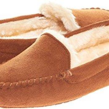 Floopi Womens Indoor Outdoor Fuax Fur Lined Moccasin Slipper W/Memory Foam (S, Chestnut-306)