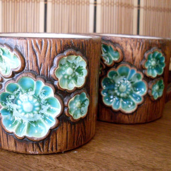 Vintage Treasure Craft Cream and Sugar Set Blue Floral on Woodgrain