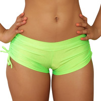 Cheeky Neon Green Tie Side Shorts- Sassy Assy