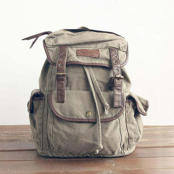 olive Canvas Backpack , Canvas Backpacks, Student Canvas Backpack ,Leisure Packs,school bag, travel bag