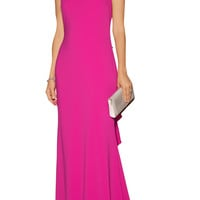Badgley Mischka Odessa ruffle-trimmed stretch-crepe gown – 55% at THE OUTNET.COM