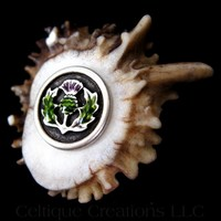 Deer Antler Kilt or Hat Pin with Enameled Scottish Thistle Handmade