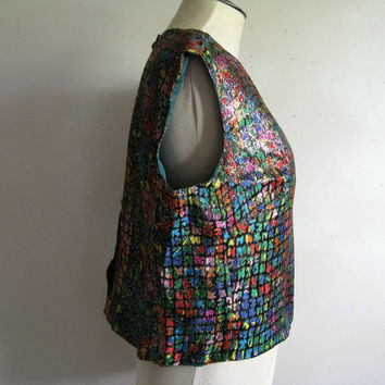 Vintage 1960s Shift Top Kay Psychedelic Metallic Rainbow Crop Blouse Large
