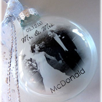 First Christmas Married Ornament MR & MRS Custom Holiday Glass Photo Bride Groom Parent Gift Large Like Thin Vellum or Etched Glass