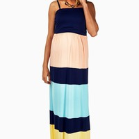 Pink-Blue-Yellow-Colorblock-Maternity-Maxi-Dress