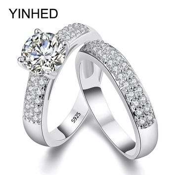 YINHED 2017 Wedding Band Rings Set Solid 925 Sterling Silver 1.5 Carat Sona Simulated Diamant Engagement Ring for Women ZR284