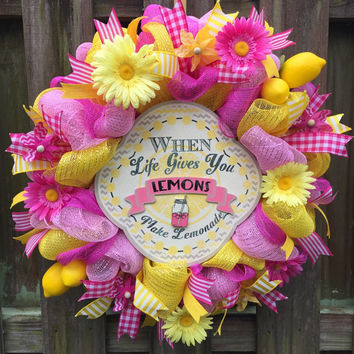 Summer Wreath, Summer Deco Mesh, Deco Mesh Wreath, Welcome Wreath, Front Door Wreath,Lemon Wreath, Lemonade Wreath, Pink Wreath, Pink Mesh,