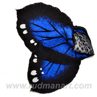 Felted Art scarf Wrap Shawl Wool Monarch butterfly. Organic natural eco materials Black White Royal Blue