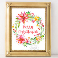 Merry Christmas Print, Christmas Printable, Christmas wall decor, Christmas art, Christmas card, wall art, instant download, wreath, quote
