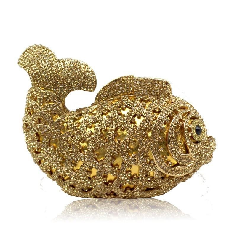 47d4b31f24 Women s Bling Koi Fish Purse Luxury Rhinestone Crystal Evening Clutch Bags
