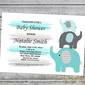 Baby Shower Invitations Boy Elephant Baby Shower Invitation Invites Template Printable Teal and Grey / Instant Download (01-1B)