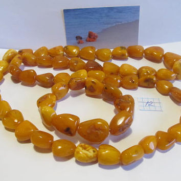 100% Natural #Antique #Baltic #Amber #Set #Necklace #Bracelet, 118.8 gr. #yellow egg yolk butterscotch  polished  opaque beads  for adult